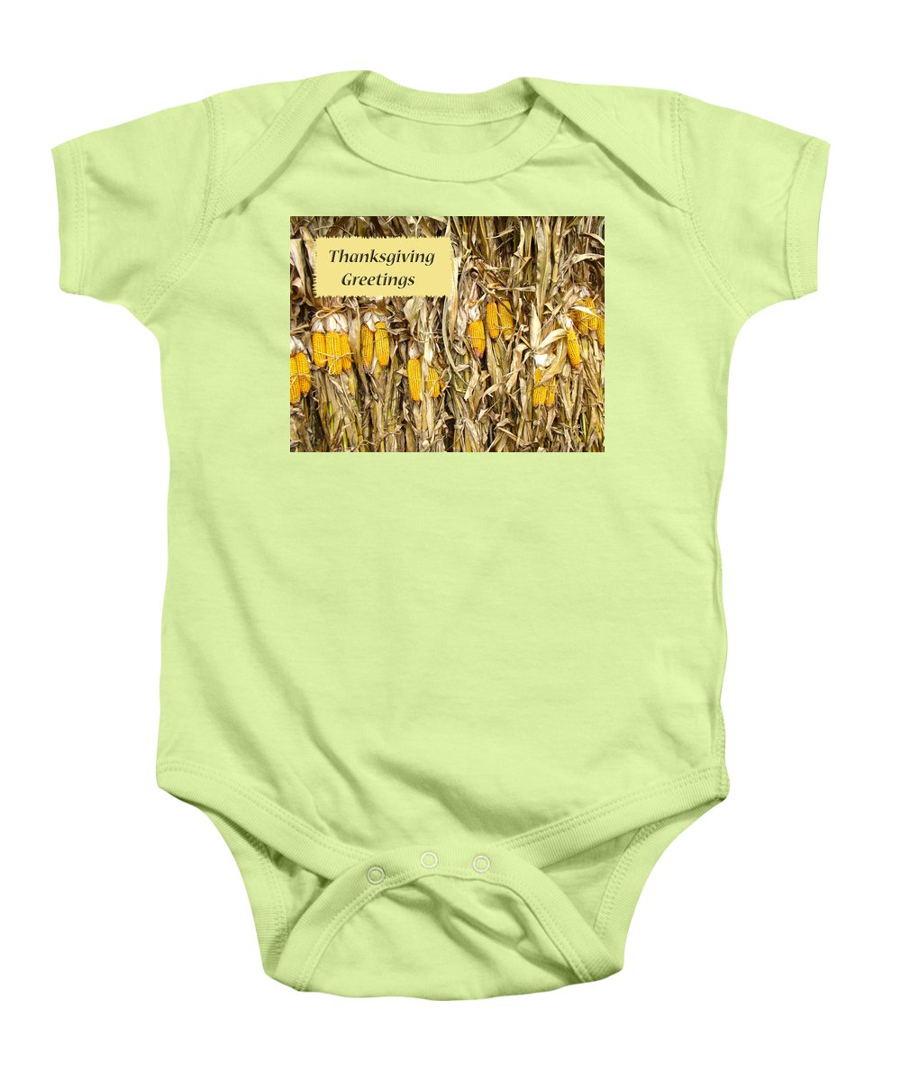 Thanksgiving Baby Onesie featuring the photograph Thanksgiving Greeting Card - Dried Corn Stalks by Mother Nature