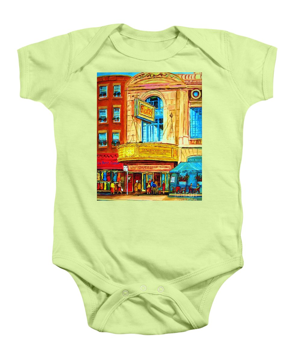 Street Scene Baby Onesie featuring the painting The Rialto Theatre by Carole Spandau