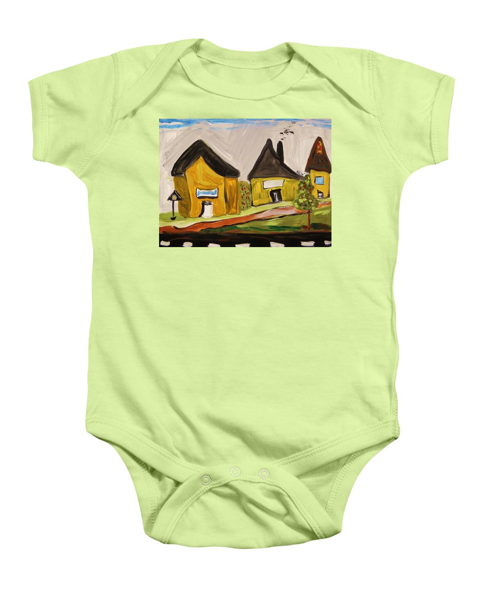 Yellow Houses Baby Onesie featuring the painting Three Yellow Houses With Picture Windows by Mary Carol Williams