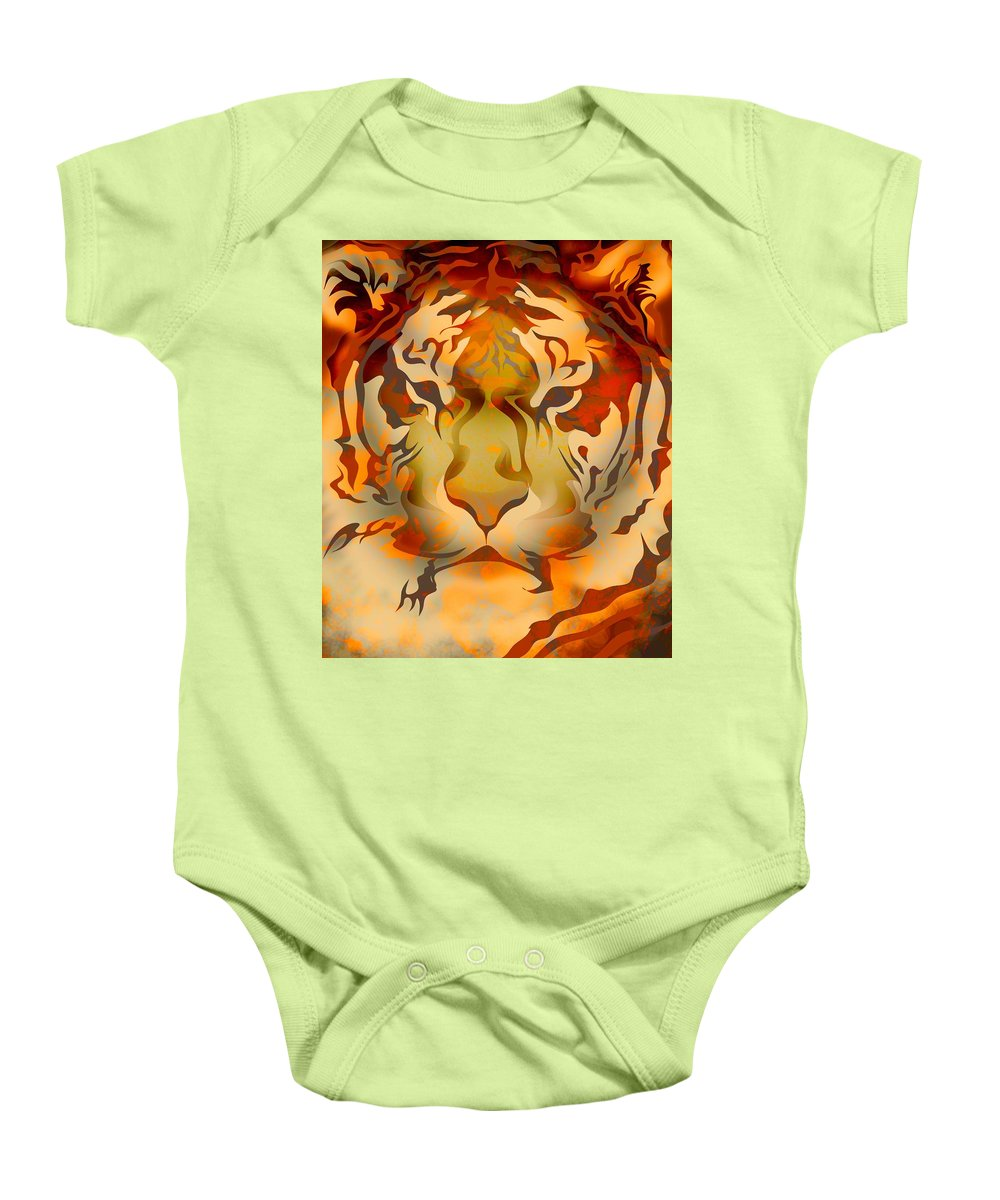 Animalia Baby Onesie featuring the photograph Tiger Illustration by Design Pics Eye Traveller