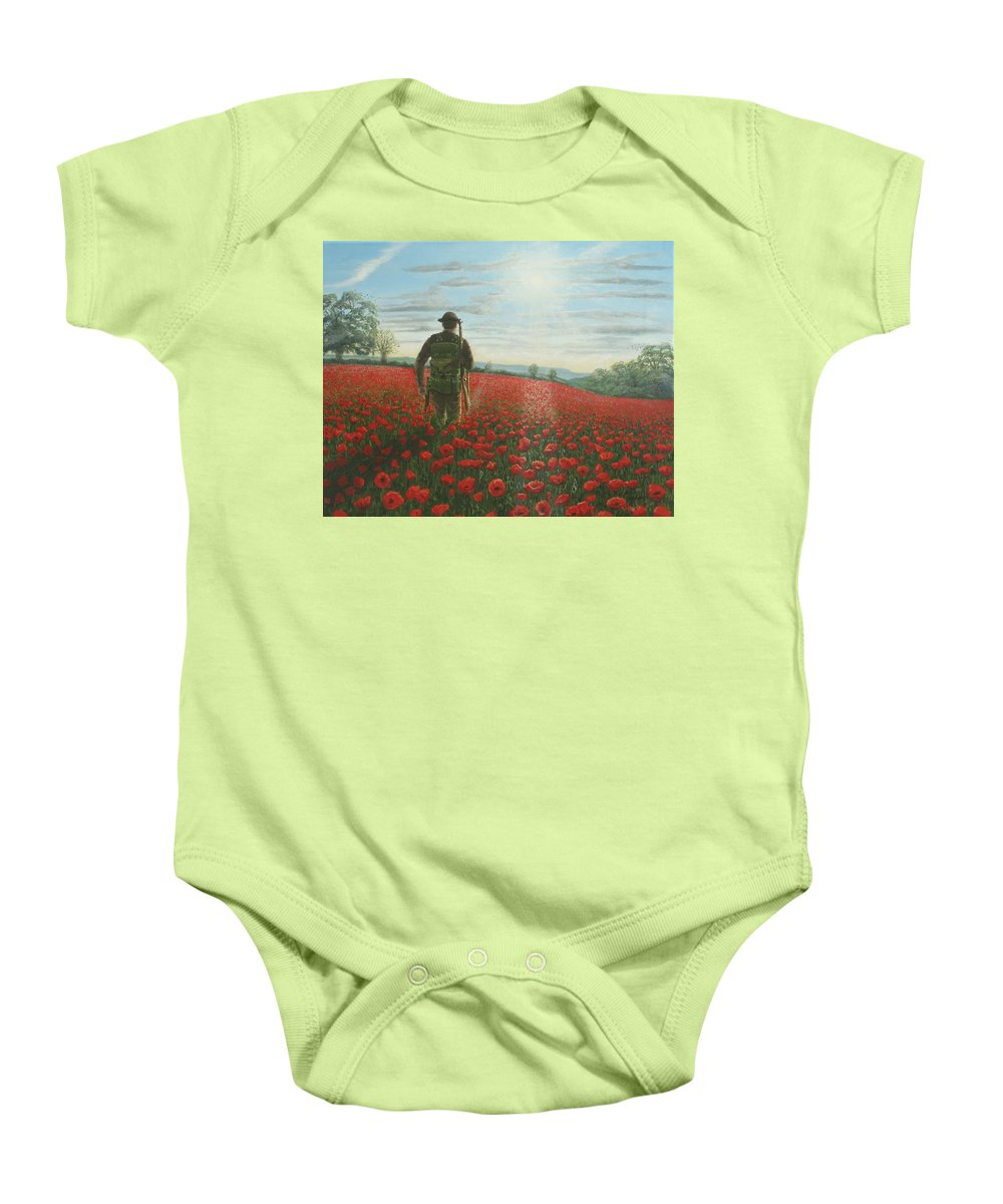 Ww1 Baby Onesie featuring the painting Tommy 2 by Richard Harpum