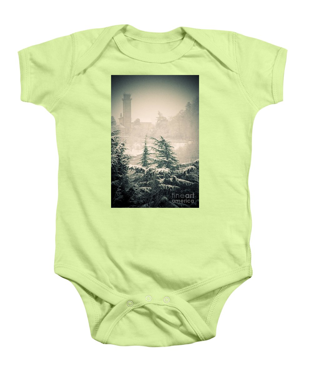 Turret Baby Onesie featuring the photograph Turret In Snow by Silvia Ganora