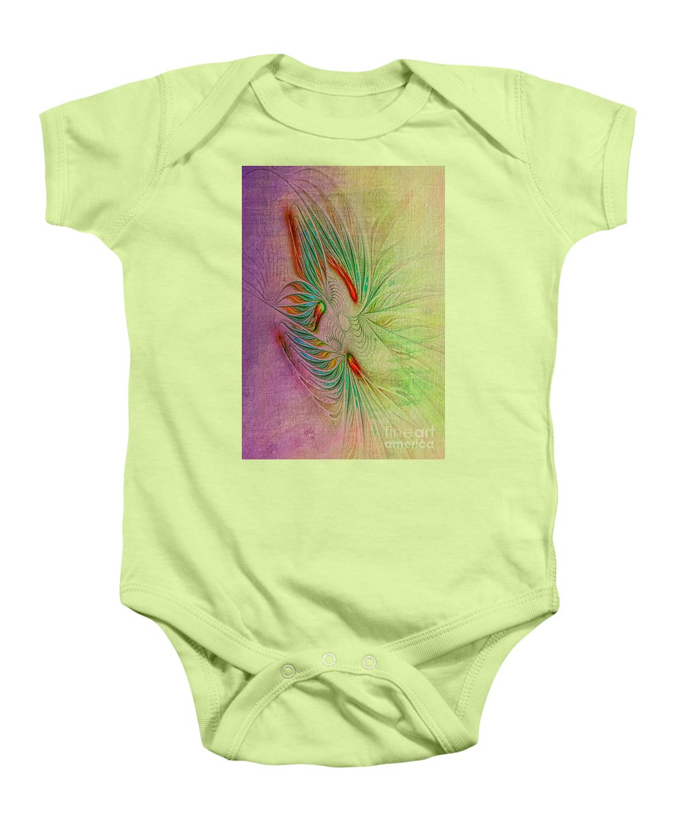 Fractal Baby Onesie featuring the digital art Two Tone Frac Abstract by Deborah Benoit