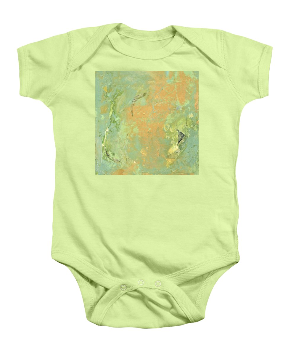 Abstract Baby Onesie featuring the painting Untitled Abstract - Caramel Teal by Kathleen Grace