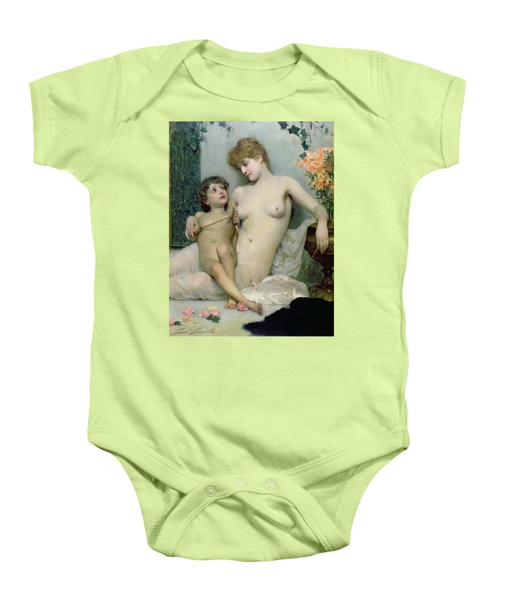 Love First Lesson Baby Onesie featuring the painting Venus And Cupid by Solomon Joseph Solomon