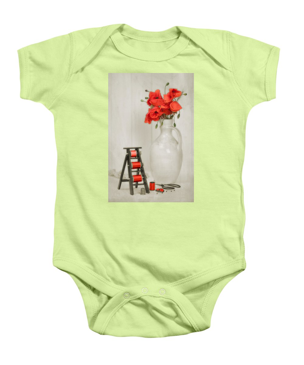 Cotton Baby Onesie featuring the photograph Vintage Sewing Table by Amanda Elwell