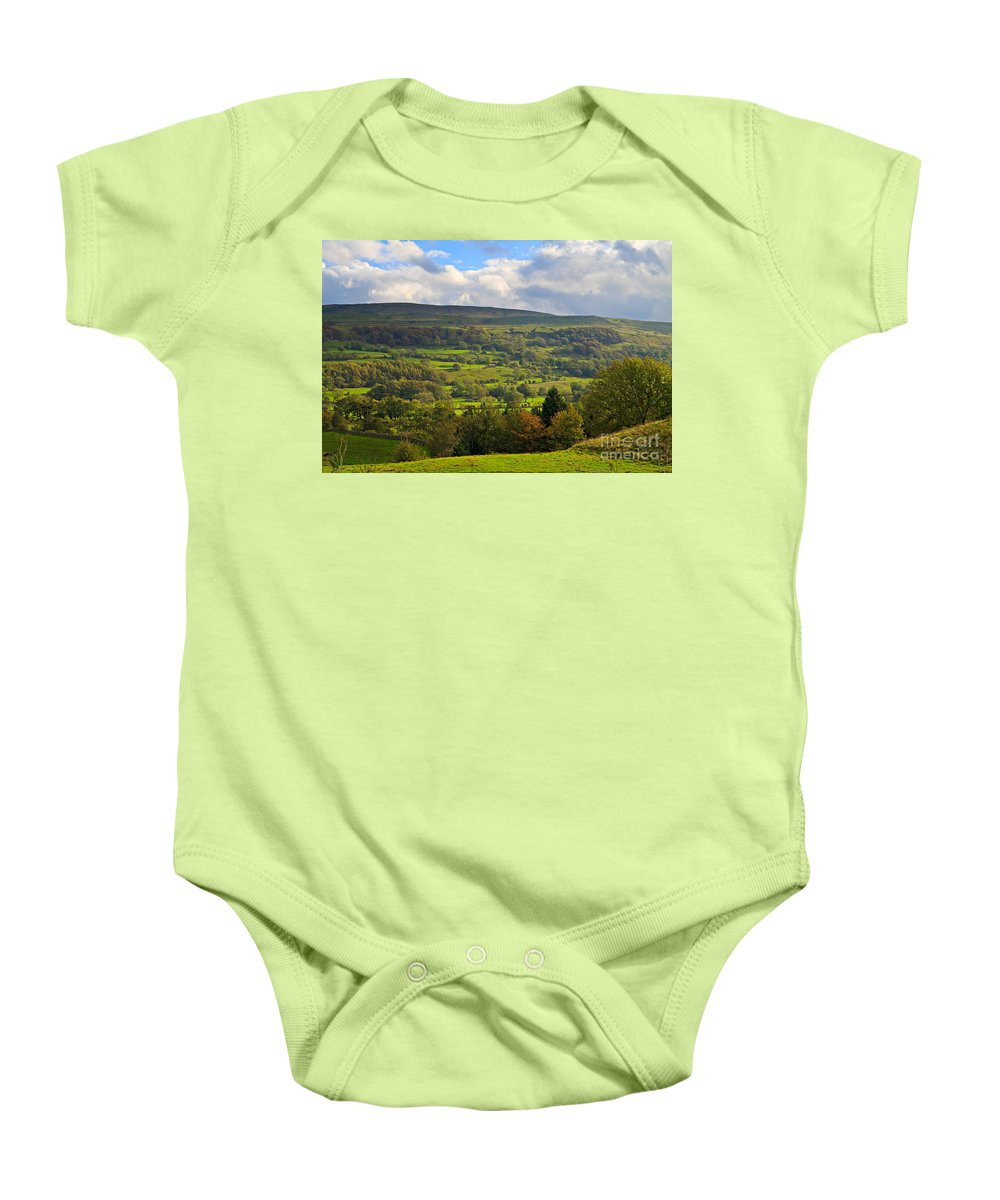 Farm Baby Onesie featuring the photograph Wensleydale Near Westholme Bank In The Yorkshire Dales by Louise Heusinkveld