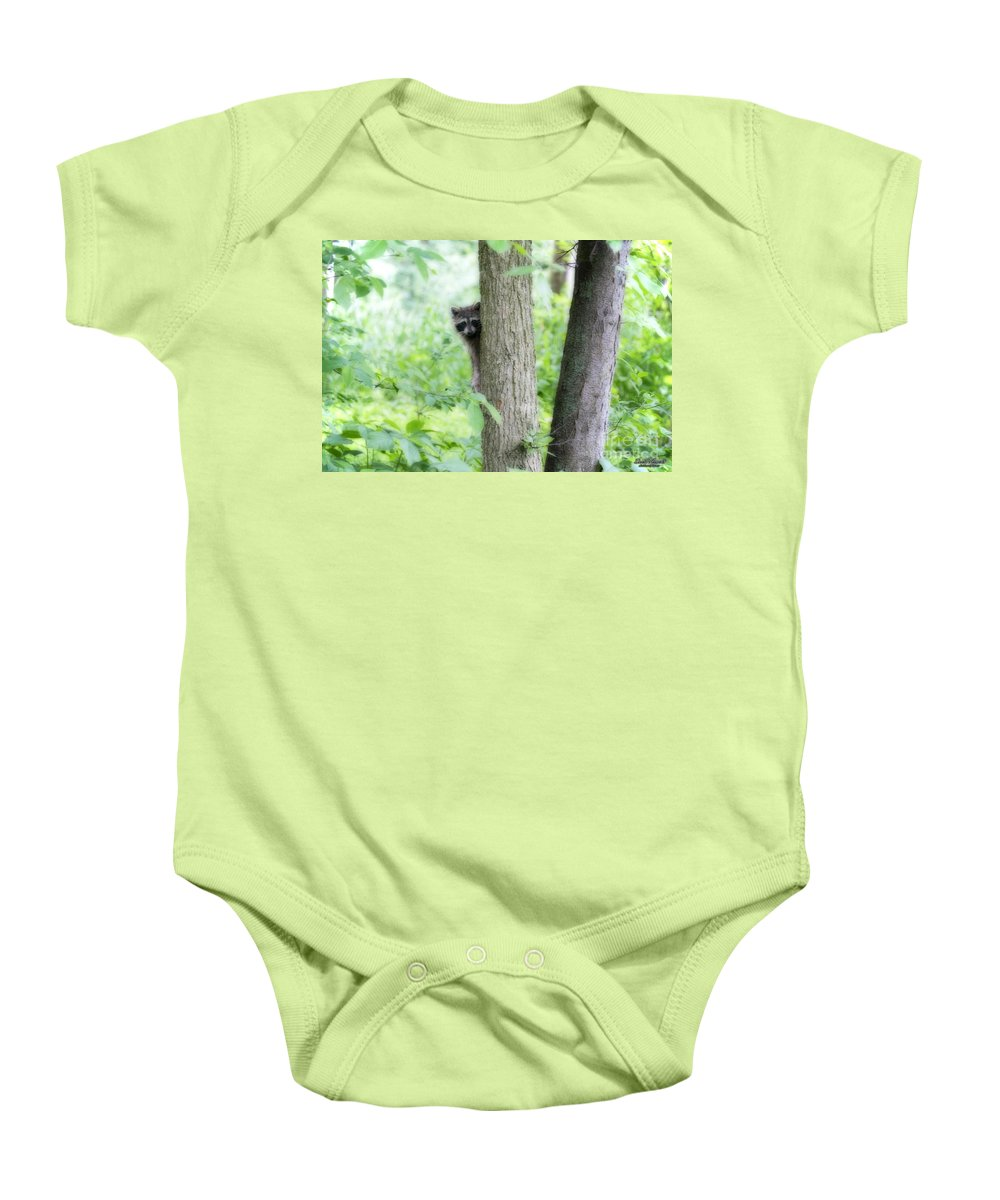 Raccoon Baby Onesie featuring the photograph When Raccoon Dream by David Arment