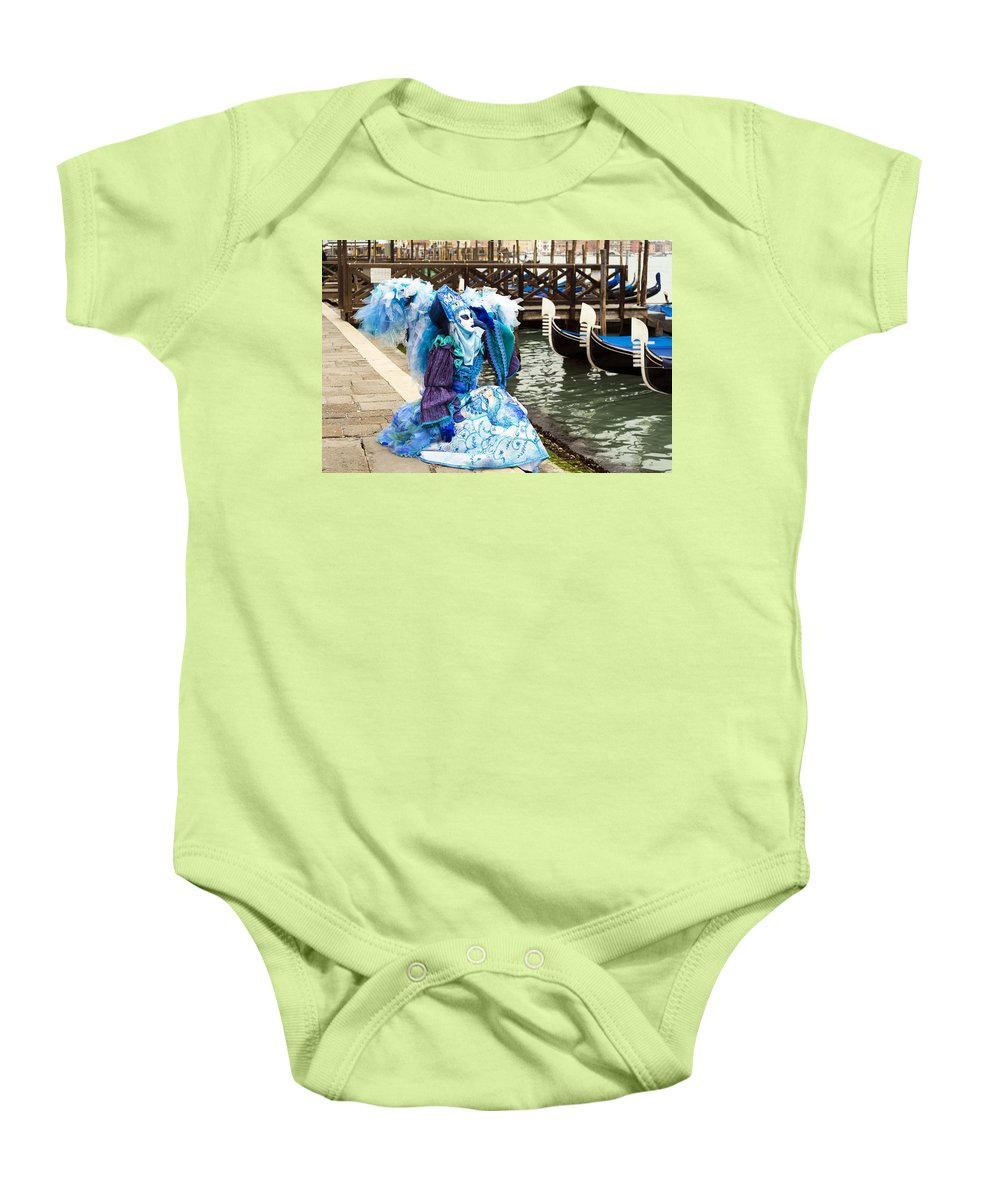 Horizontal Baby Onesie featuring the photograph Blue Angel 2015 Carnevale Di Venezia Italia by Sally Rockefeller