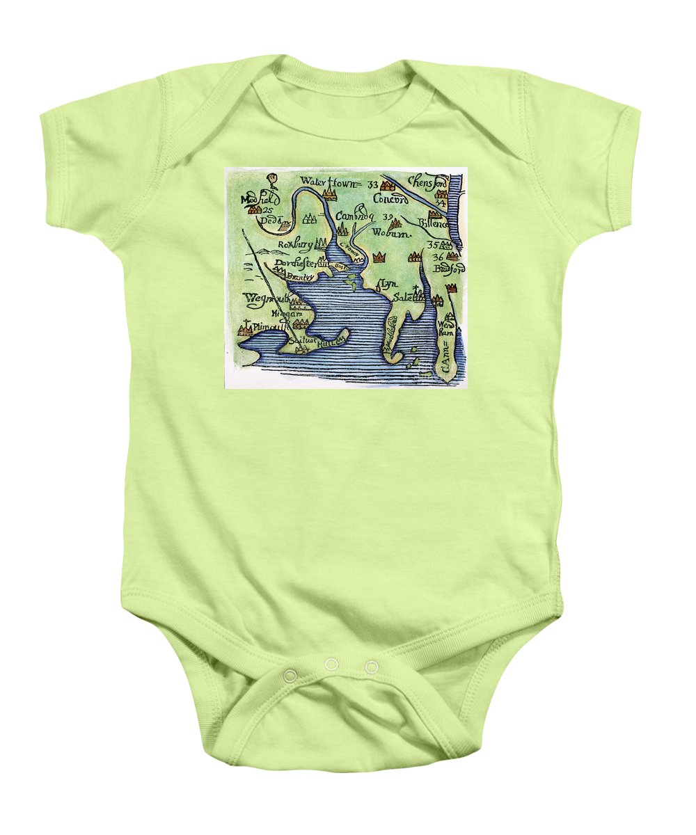 1677 Baby Onesie featuring the painting New England Map 1677 by Granger