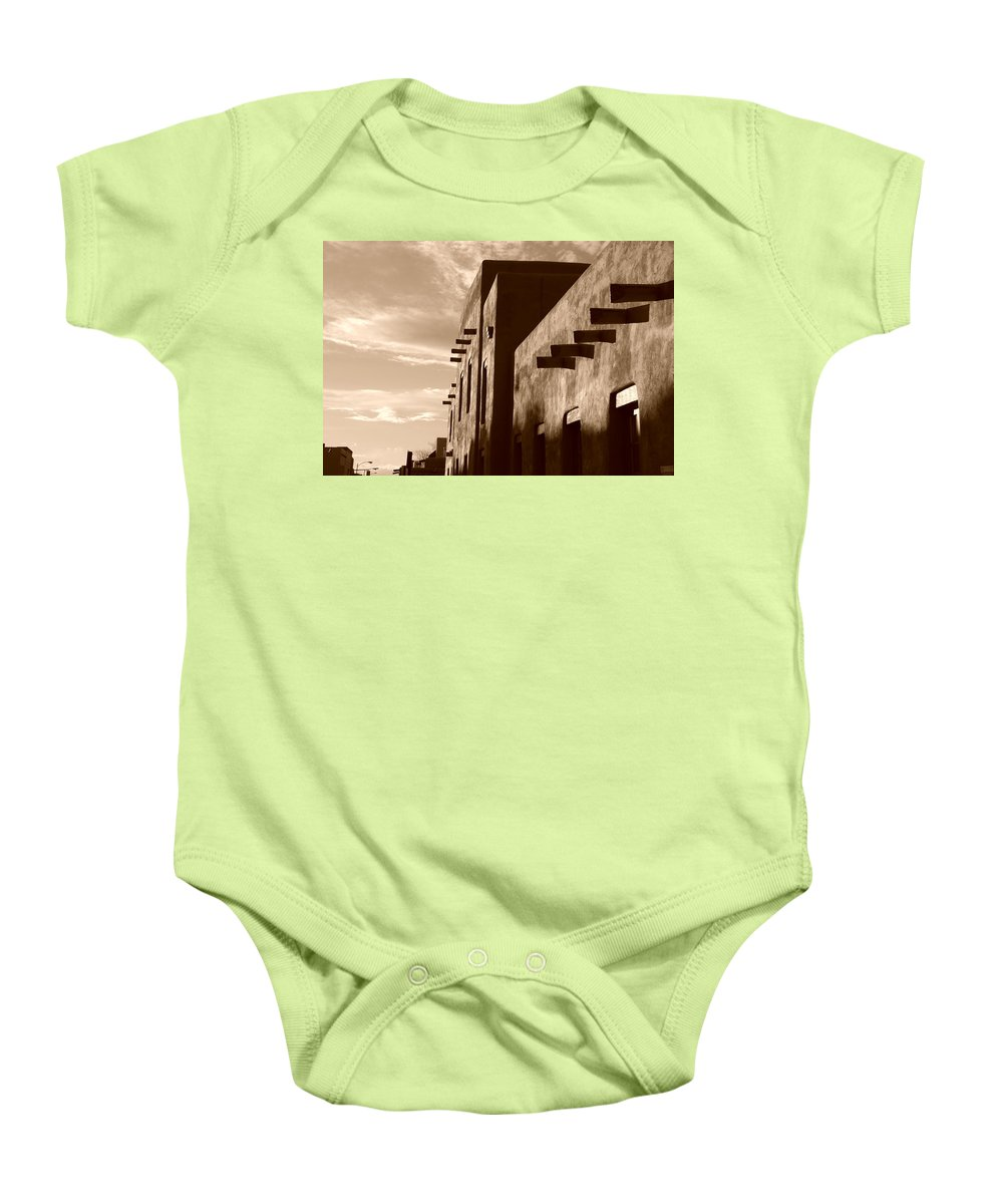 Architecture Baby Onesie featuring the photograph Adobe Sunset by Rob Hans
