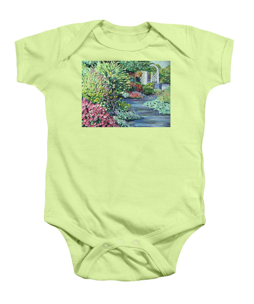 Garden Baby Onesie featuring the painting Amelia Park Pathway by Richard Nowak