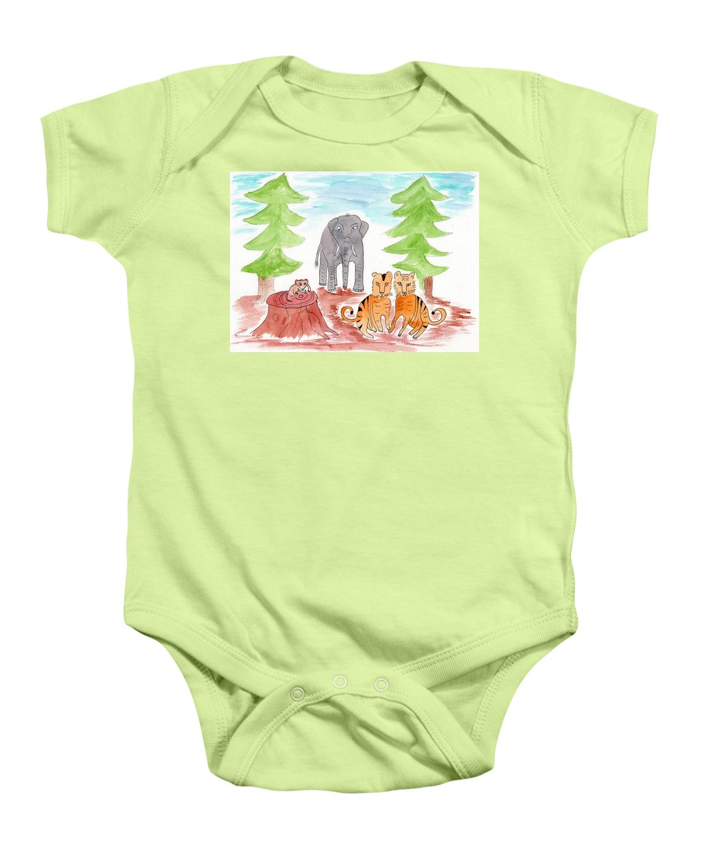 Forest Baby Onesie featuring the painting Ashdown Forest, Sussex, England by Helen Holden-Gladsky