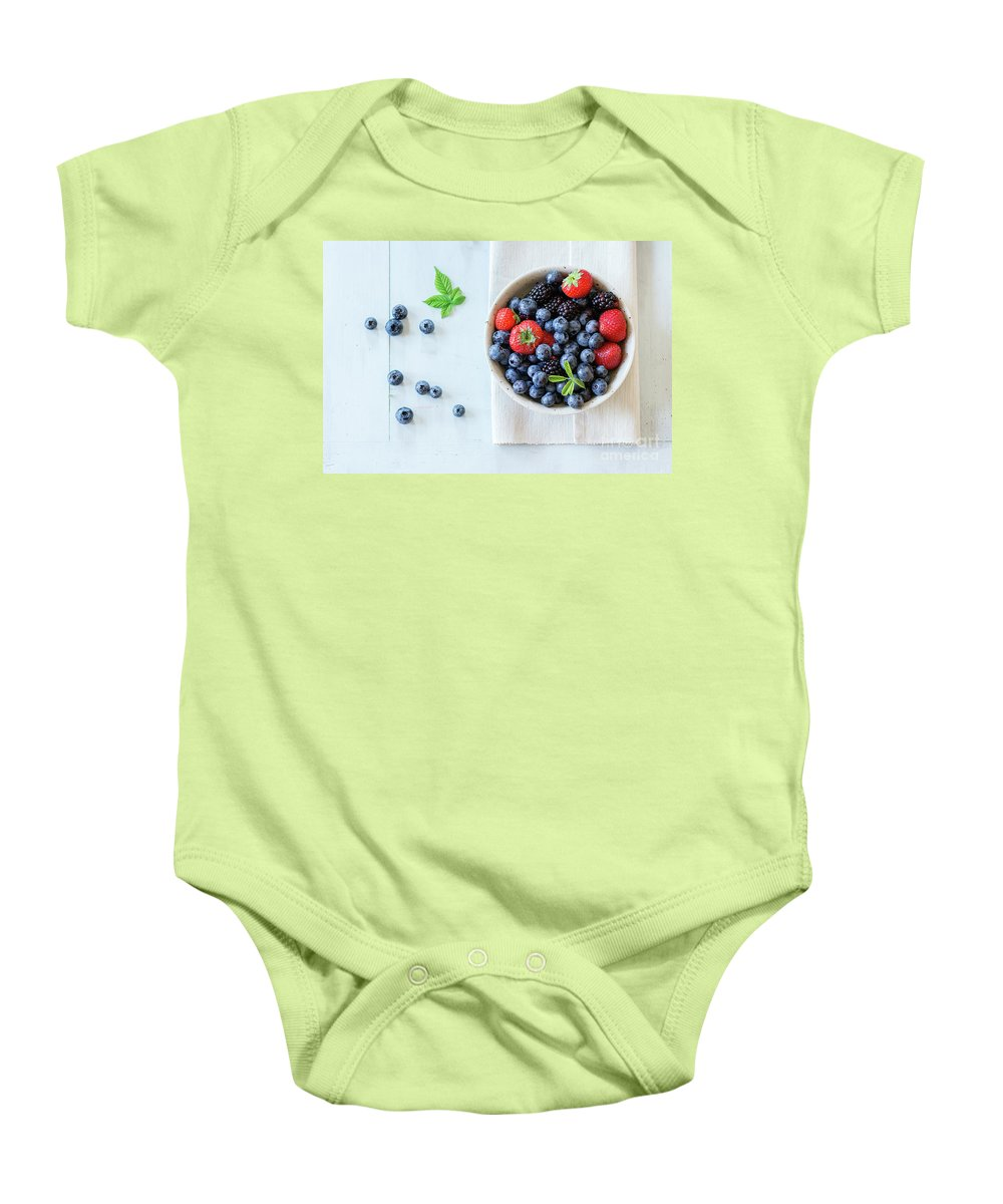 Blueberries Baby Onesie featuring the pyrography Assortment Of Berries by Natasha Breen