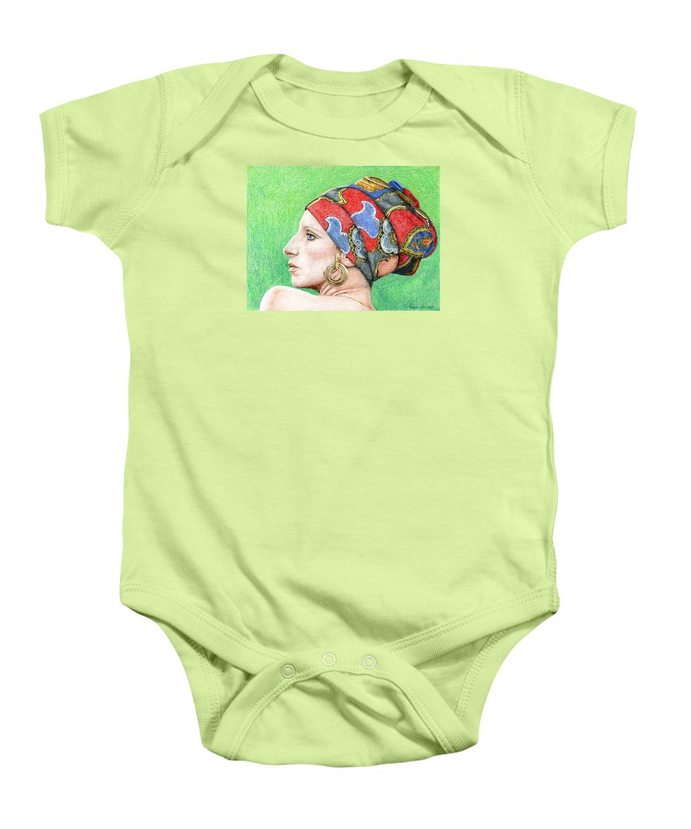 Singer Baby Onesie featuring the drawing Barbra Streisand by Rob De Vries