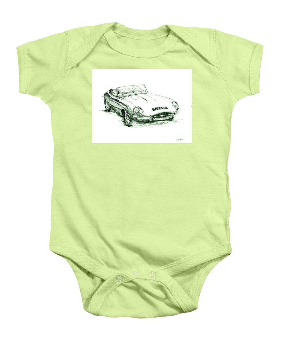 Car Baby Onesie featuring the drawing E Type by Callan Art