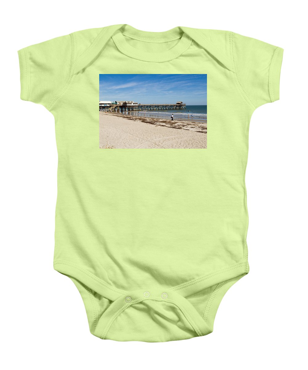 Florida; Cocoa; Beach; Atlantic; Ocean; East; Space; Coast; Brevard; Central; Pier; Surf; Surfing; F Baby Onesie featuring the photograph Cocoa Beach In Florida by Allan Hughes