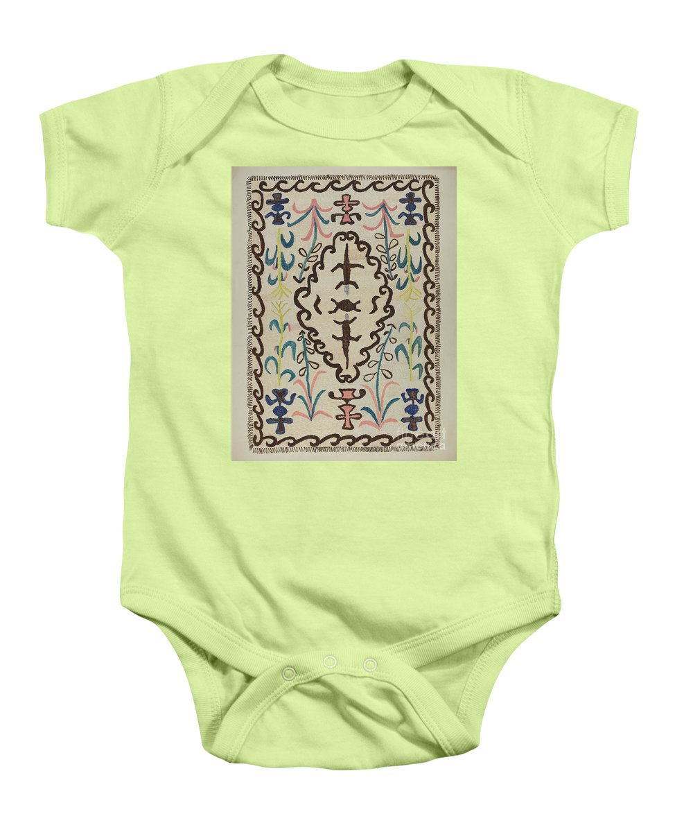 Baby Onesie featuring the drawing Colcha by Margery Parish