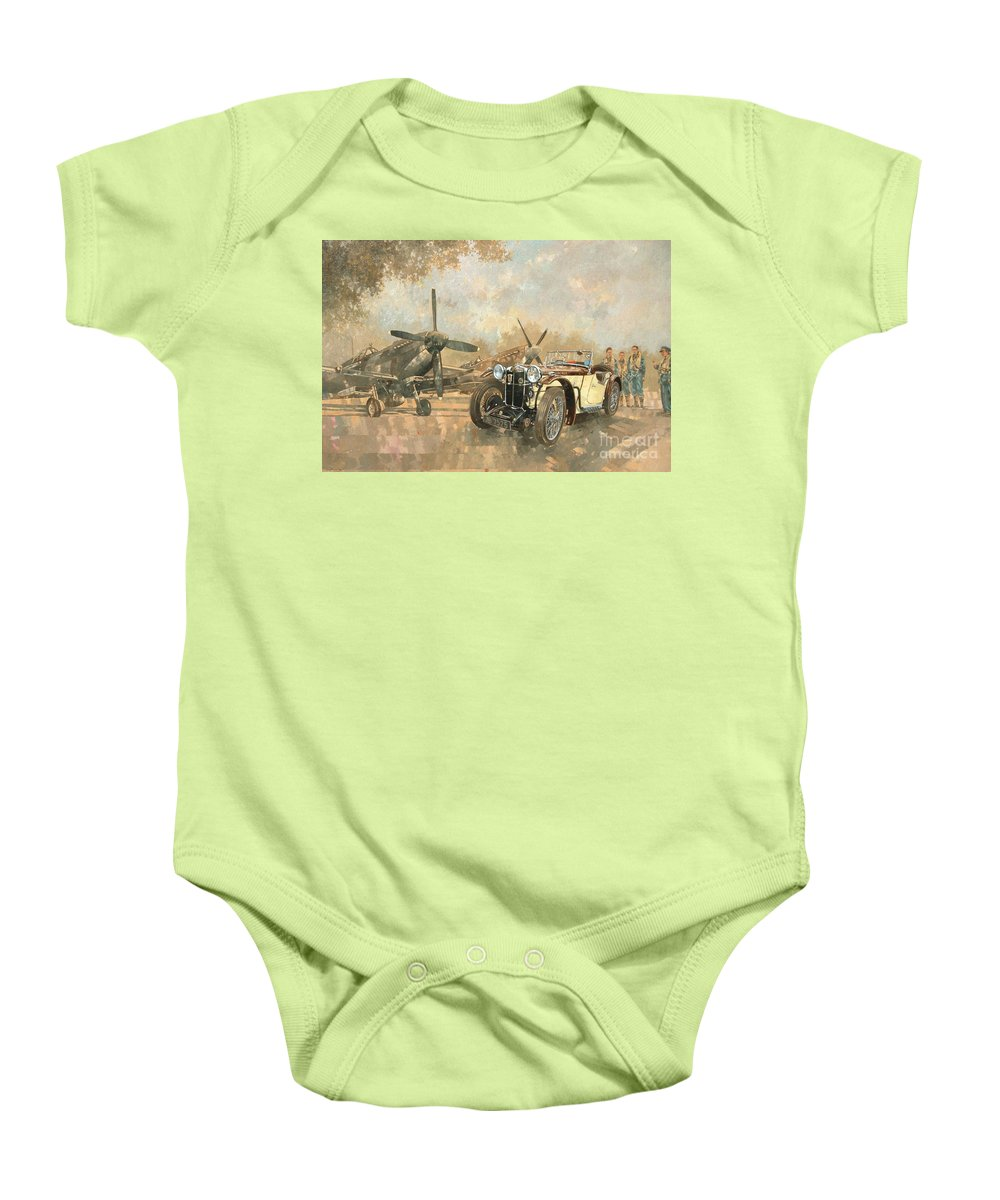 Vehicle; Airplane; Aeroplane; Plane; Military; Airforce; Vintage Car; Planes; Aeroplanes; Airplanes; Classic Cars; Auto; Spitfire Baby Onesie featuring the painting Cream Cracker Mg 4 Spitfires by Peter Miller