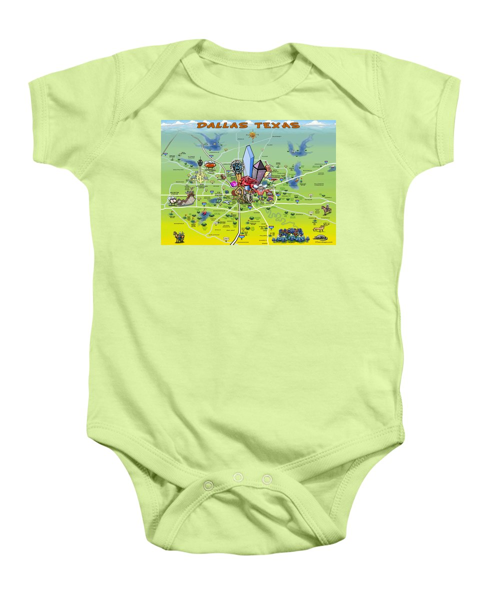 Dallas Baby Onesie featuring the painting Dallas Texas Cartoon Map by Kevin Middleton
