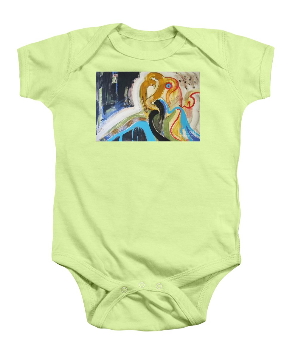 Abstract Art Paintings Baby Onesie featuring the painting Hard To Escape by Seon-Jeong Kim