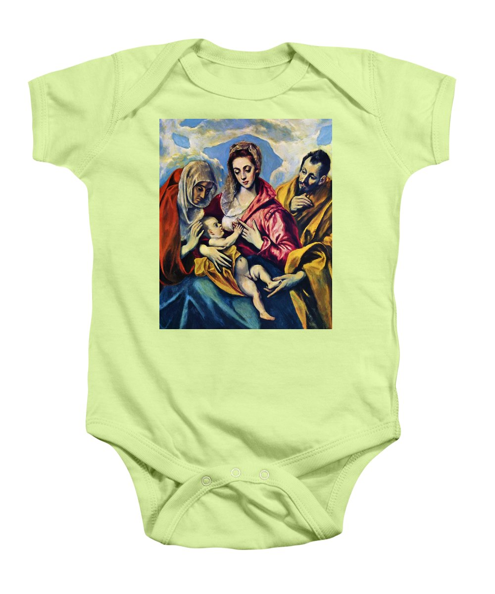 Holy Baby Onesie featuring the painting Holy Family With St Anne by El Greco