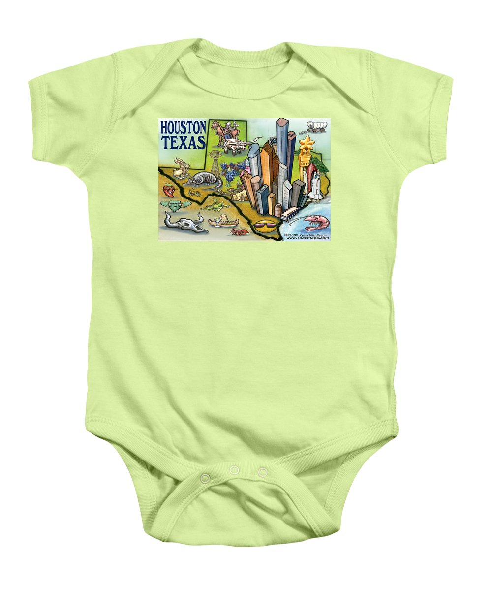 Houston Baby Onesie featuring the digital art Houston Texas Cartoon Map by Kevin Middleton