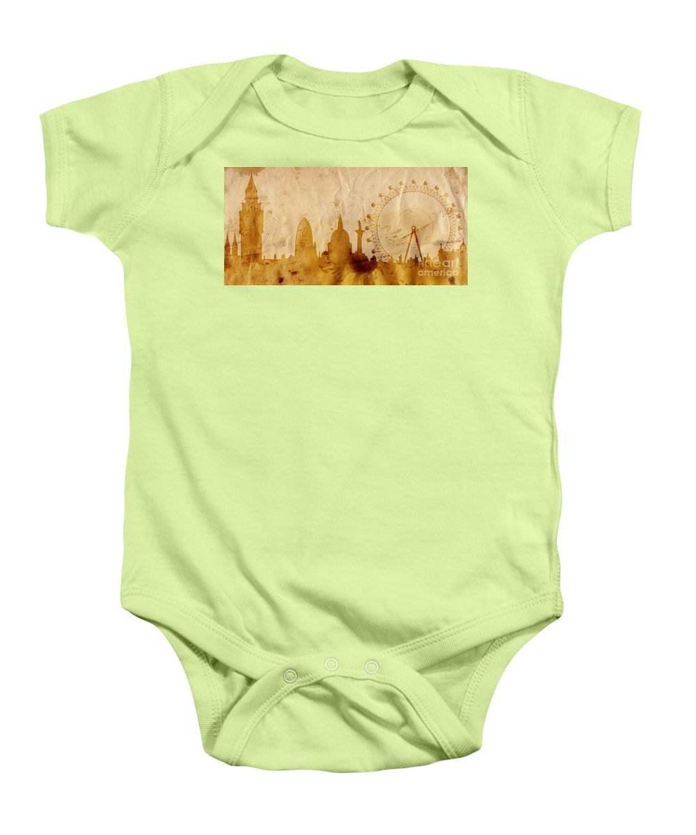 London Baby Onesie featuring the mixed media London by Michal Boubin