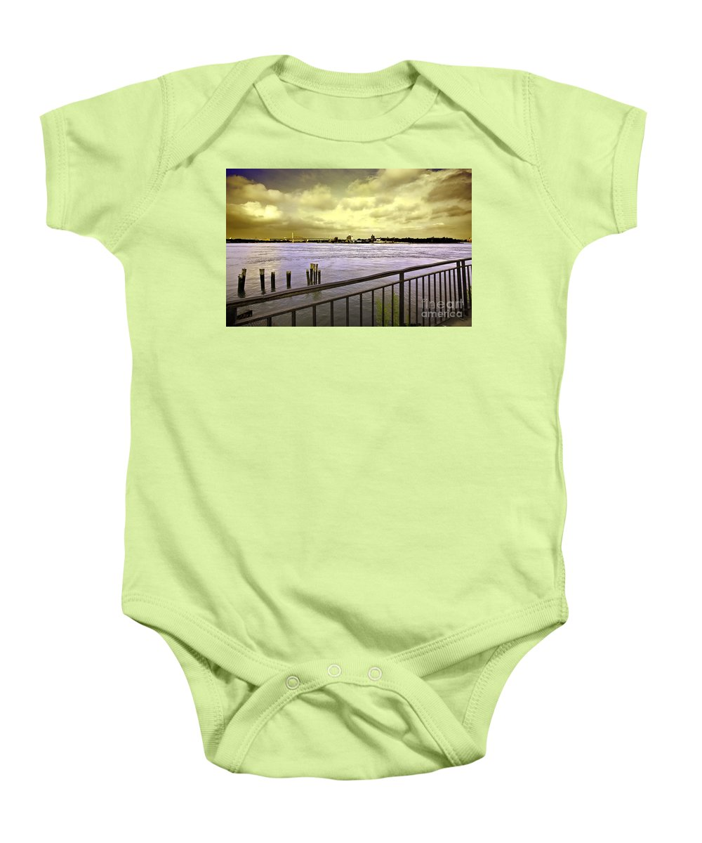 East River Baby Onesie featuring the photograph Looking West From The East River by Madeline Ellis