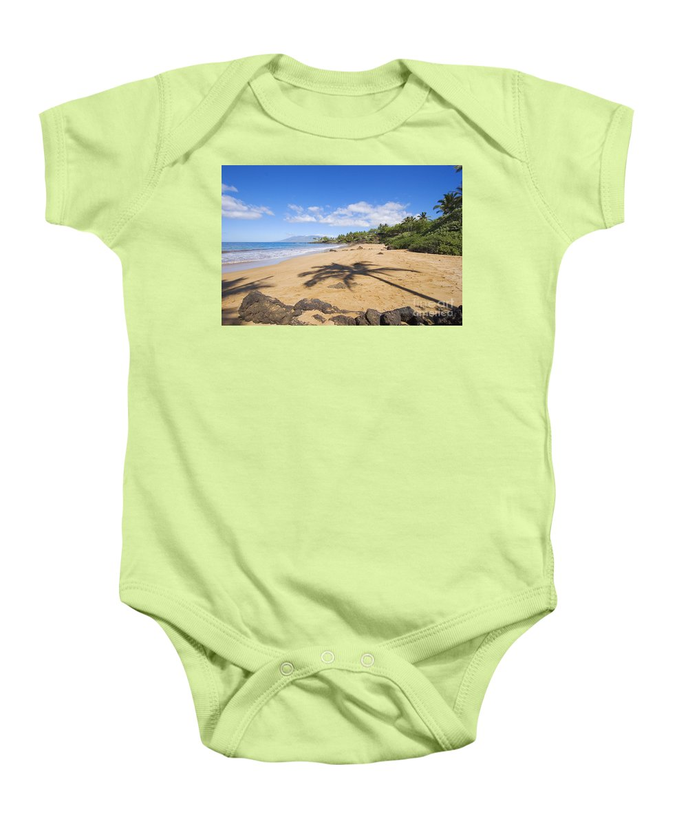Beach Baby Onesie featuring the photograph Makena, Changs Beach by Ron Dahlquist - Printscapes