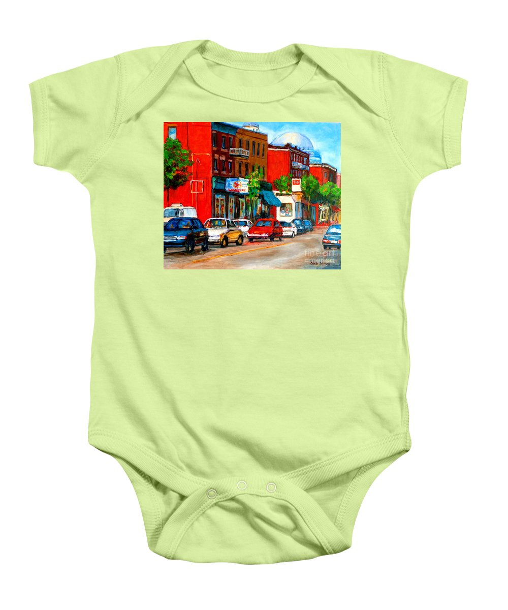 St.viateur Bagel Baby Onesie featuring the painting Montreal Paintings by Carole Spandau