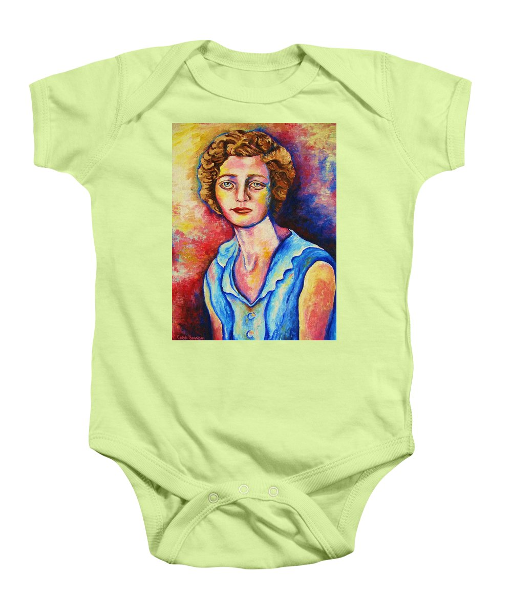 Portraits Baby Onesie featuring the painting Sad Eyes by Carole Spandau