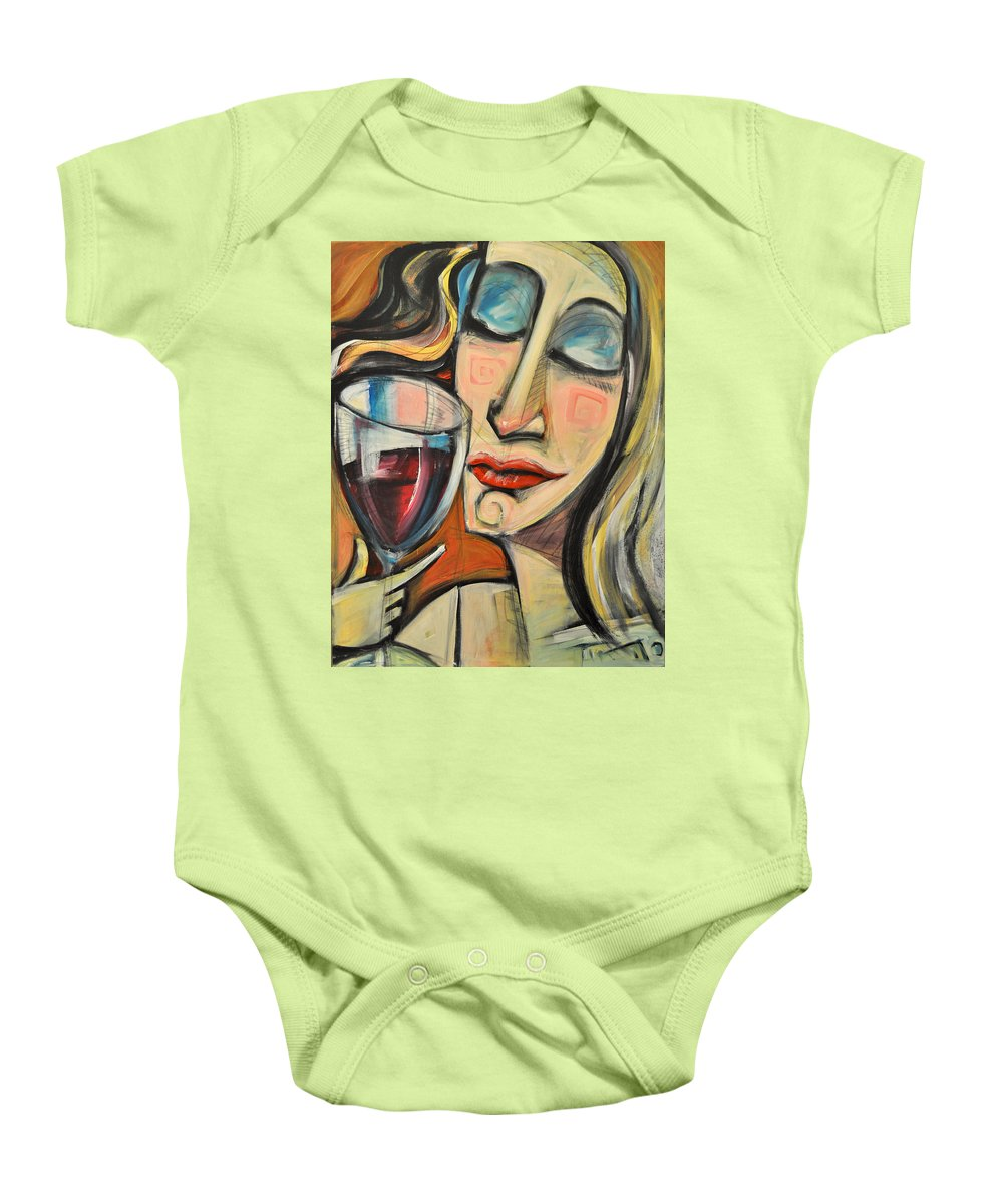 Wine Baby Onesie featuring the painting Savoring The First Sip by Tim Nyberg