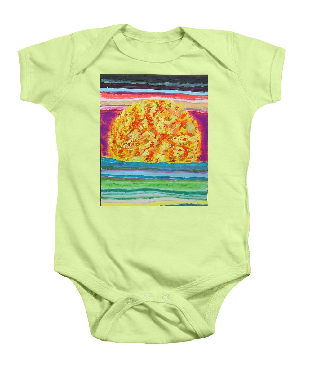 Hot Baby Onesie featuring the painting The Sun Drinks The Ocean And Eats The Sky by James Campbell