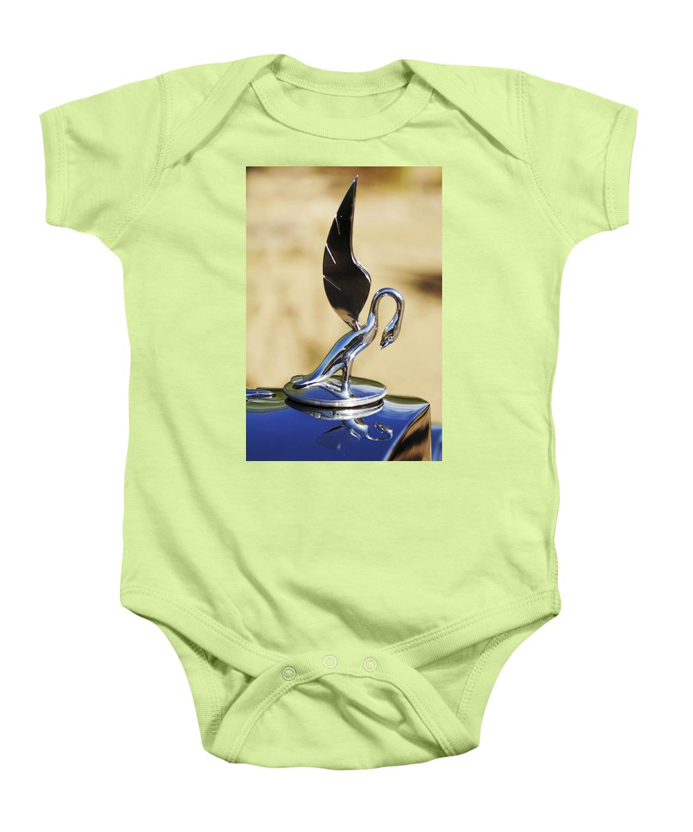 1933 Packard 12 Convertible Coupe Baby Onesie featuring the photograph 1933 Packard 12 Hood Ornament by Jill Reger