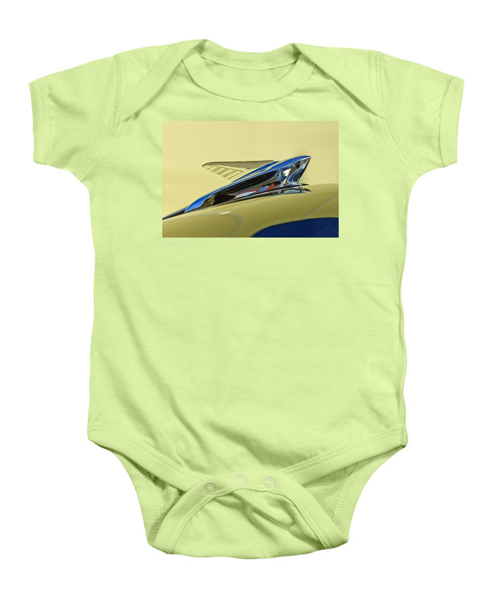1951 Ford Baby Onesie featuring the photograph 1951 Ford Hood Ornament 2 by Jill Reger