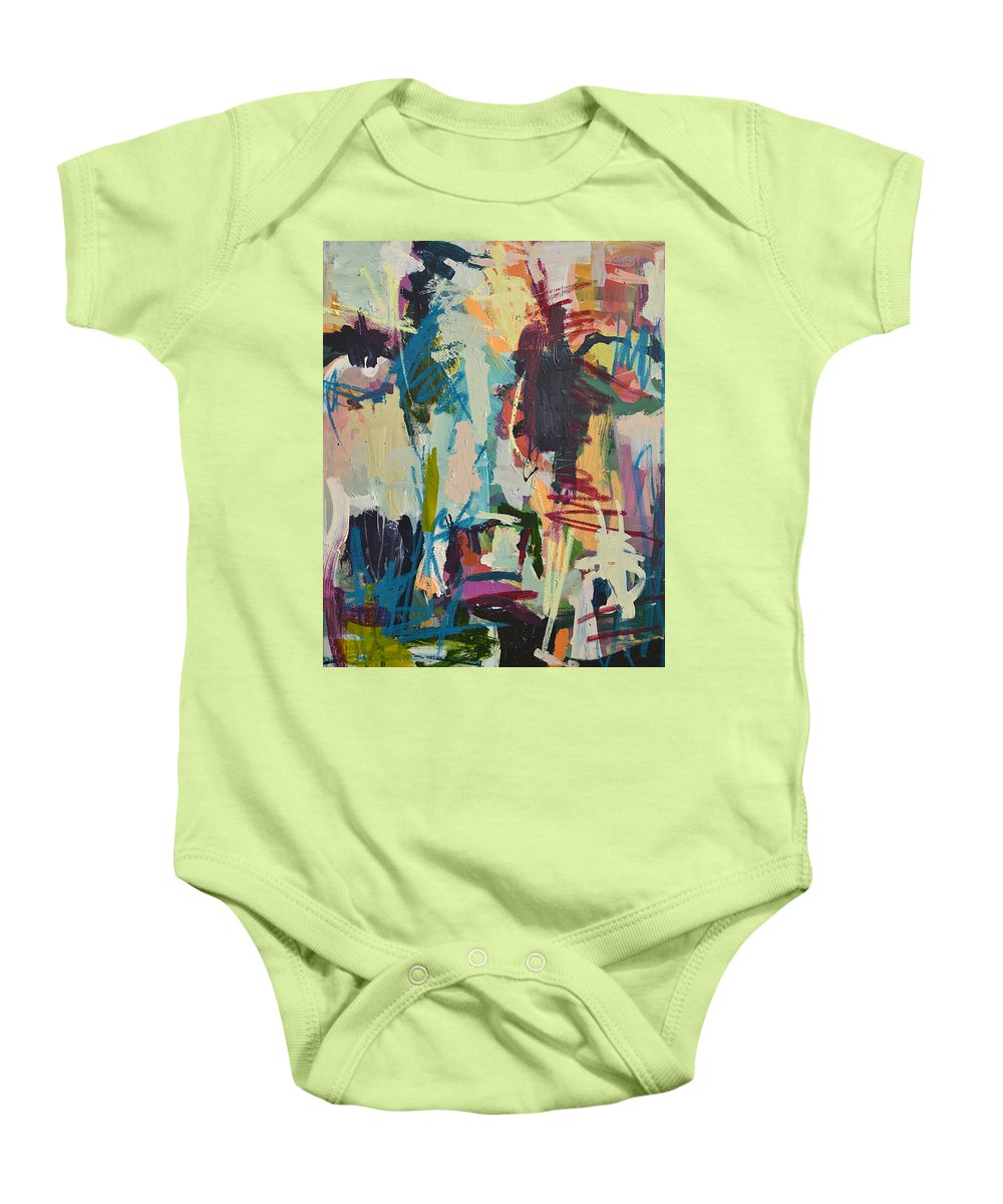 Art Baby Onesie featuring the painting Modern Abstract Cow Painting by Robert Joyner
