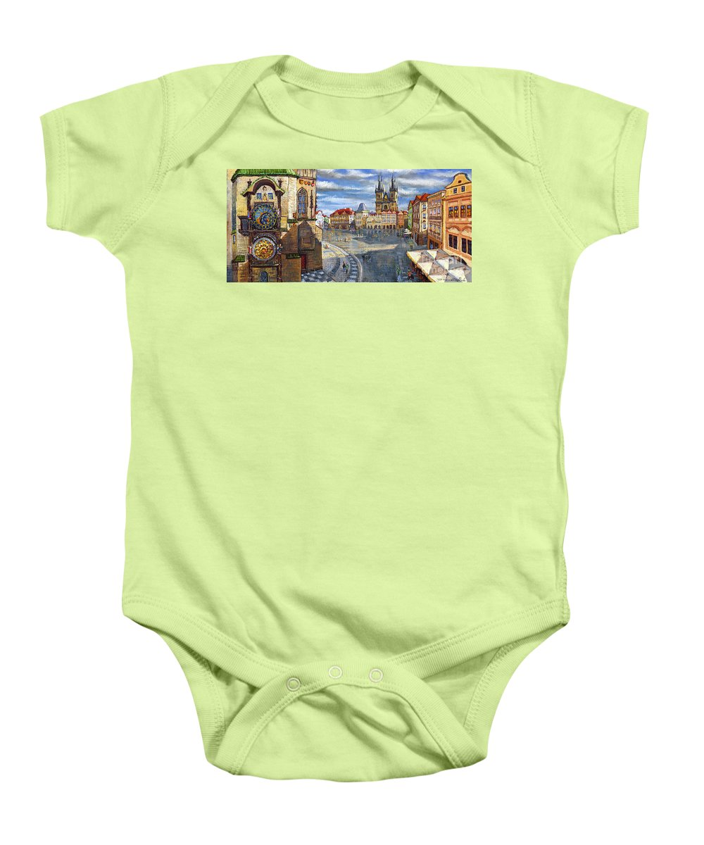 Pastel Baby Onesie featuring the painting Prague Old Town Squere by Yuriy Shevchuk