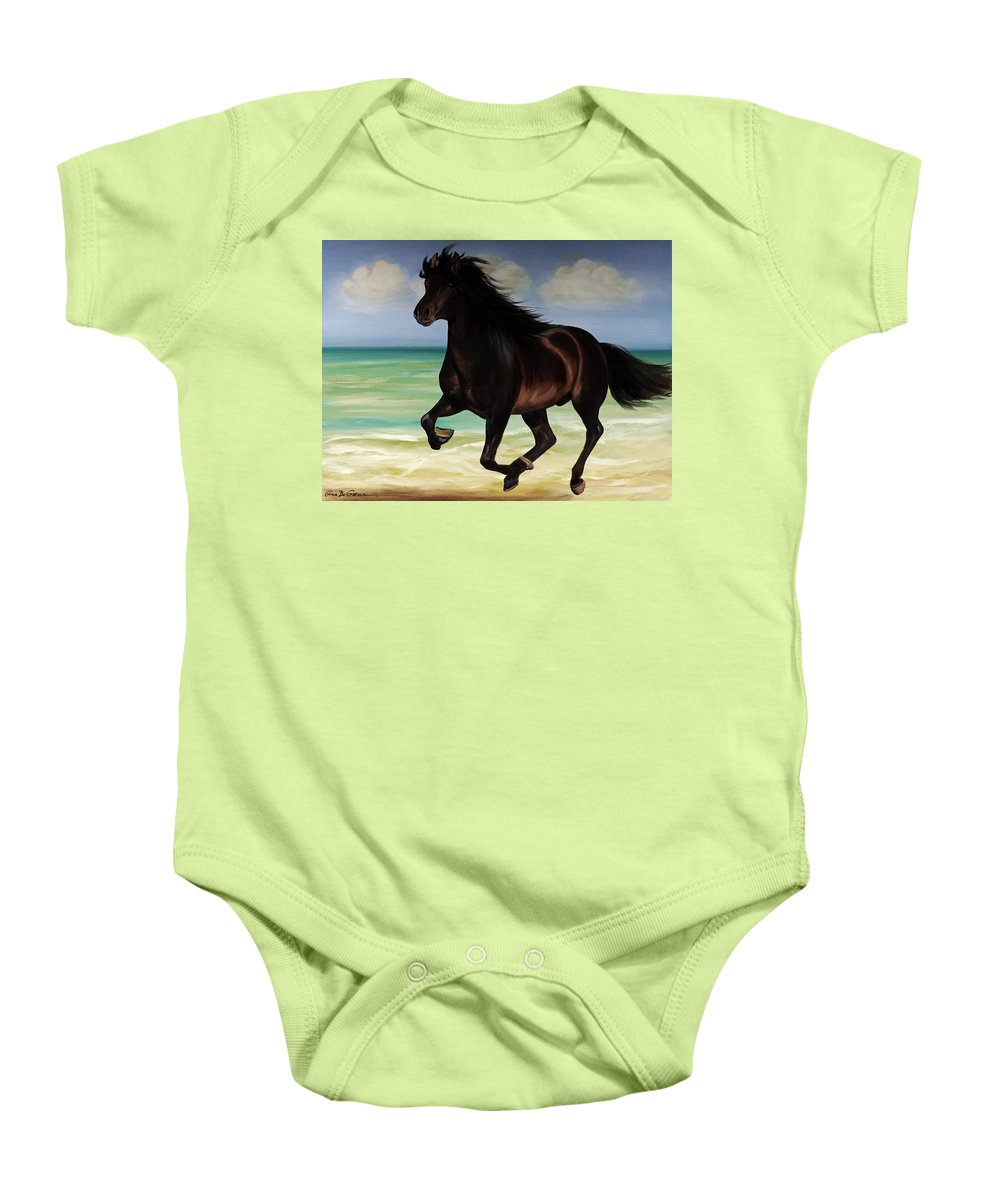 Horse Baby Onesie featuring the painting Horses In Paradise Run by Gina De Gorna