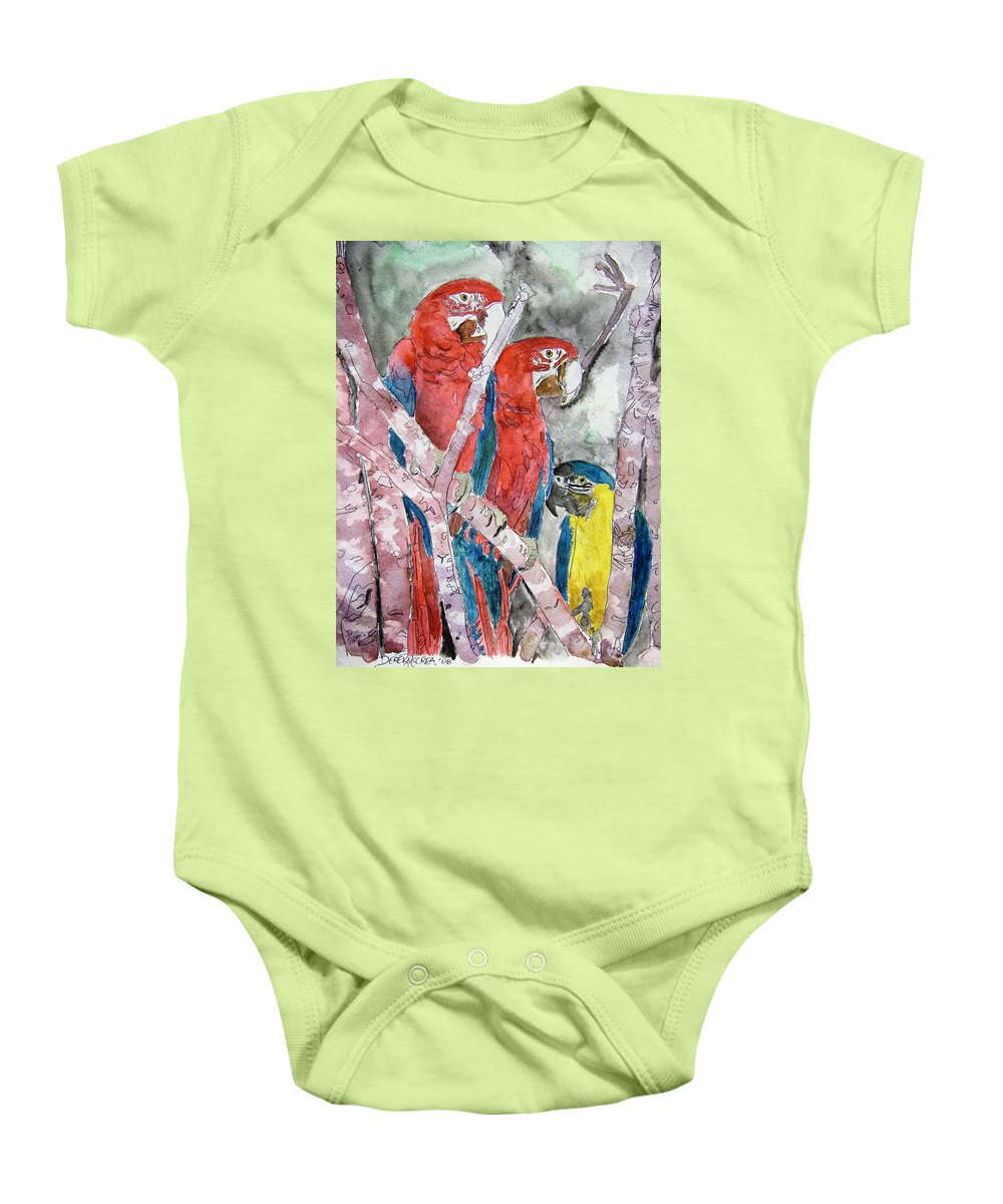 Bird Baby Onesie featuring the painting 3 Parrots by Derek Mccrea