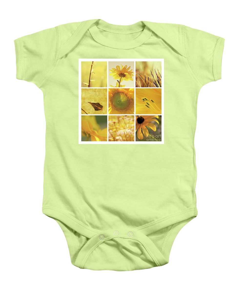 Aimelle Baby Onesie featuring the photograph 3x3 Yellow by Aimelle