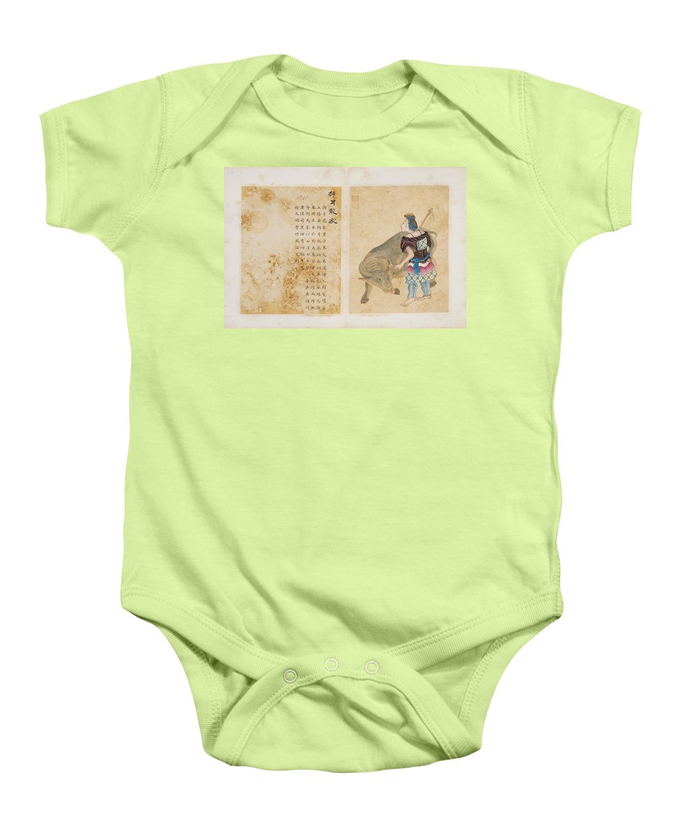 Watercolours On Papers With Popular Life Scenes And Inscriptions. China Baby Onesie featuring the painting Watercolours On Papers With Popular Life Scenes And Inscriptions by MotionAge Designs