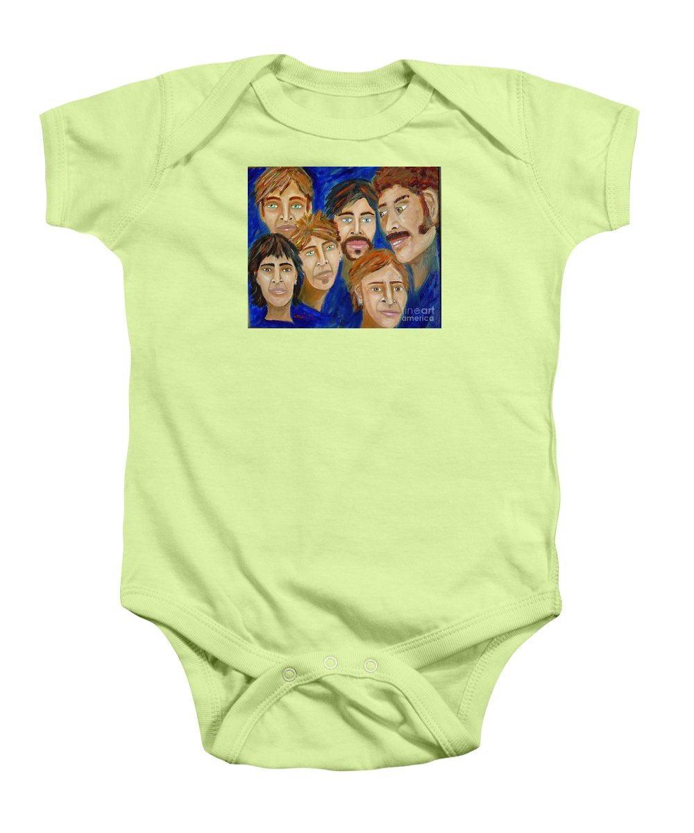 Portrait Baby Onesie featuring the painting 70s Band Reunion by Laurie Morgan