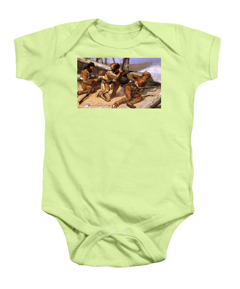 A Baby Onesie featuring the painting A Brush With The Redskins 1891 by Remington Frederic