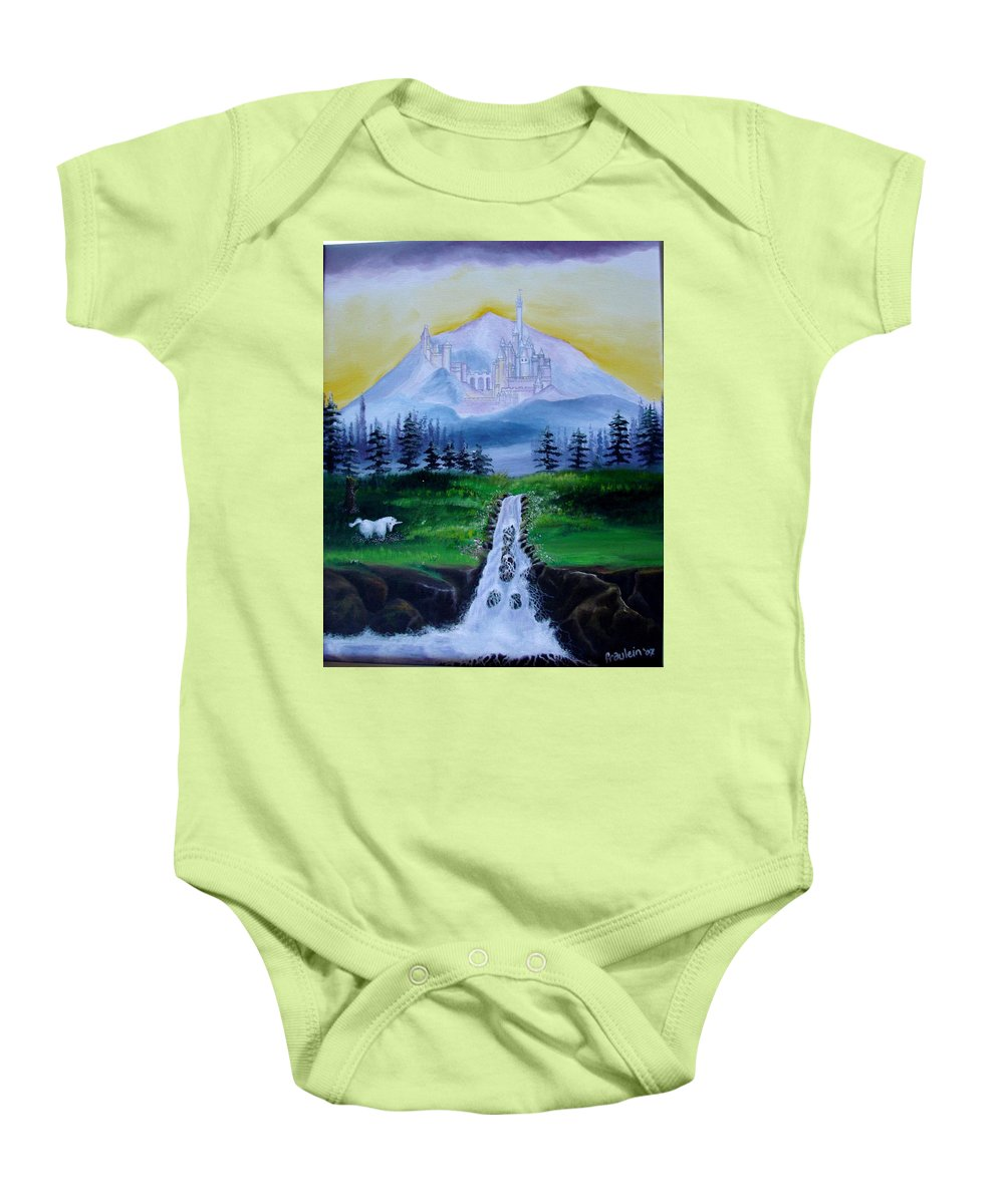 Landscape Baby Onesie featuring the painting A Fairytale by Glory Fraulein Wolfe