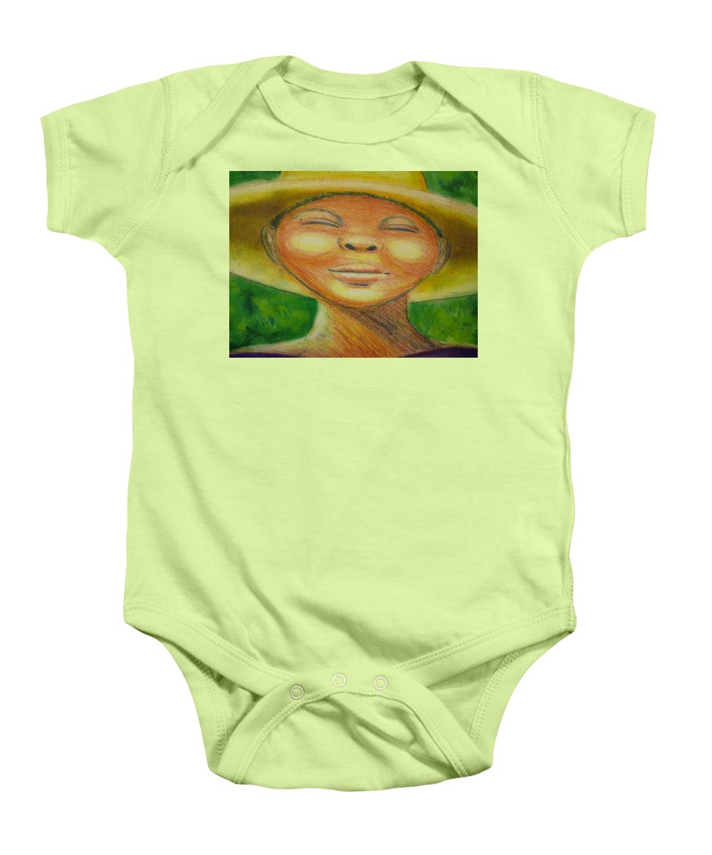 Drawing Baby Onesie featuring the drawing A Hot Summer Day by Jan Gilmore