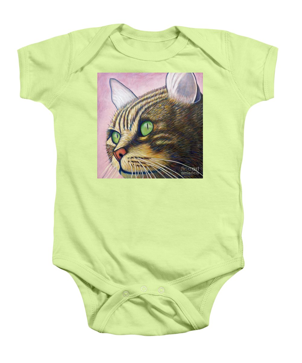 Cat Baby Onesie featuring the painting A New Day by Brian Commerford