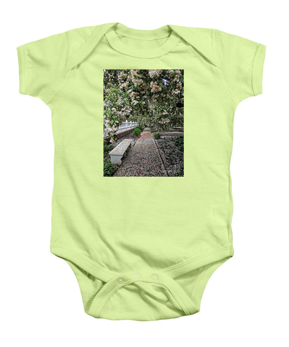 Flora Baby Onesie featuring the photograph A Path Of Petals by Marcia Lee Jones