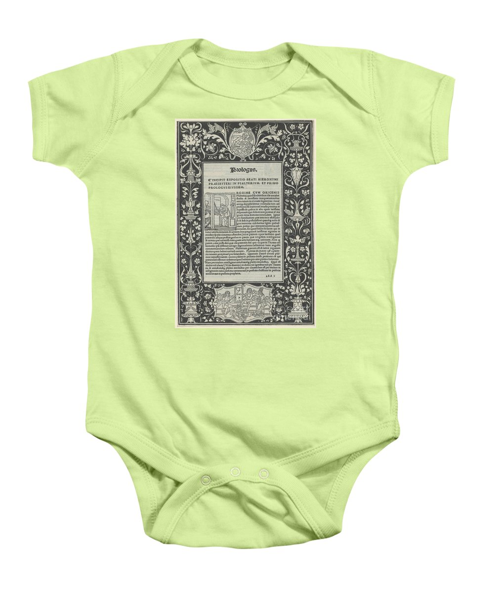 """Baby Onesie featuring the drawing A White Line Border With Two Cartouches: """"a Satyr Sacrificing A Ram,"""" And """"the Choice Of Hercules"""" by Attributed To Benedetto Bordon"""