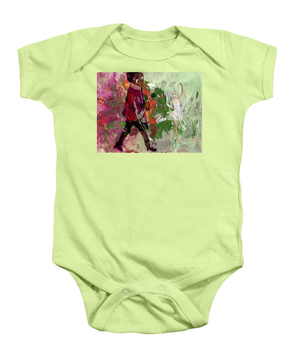 Fantasy Baby Onesie featuring the painting A White Rose For A Ballerina by Miki De Goodaboom